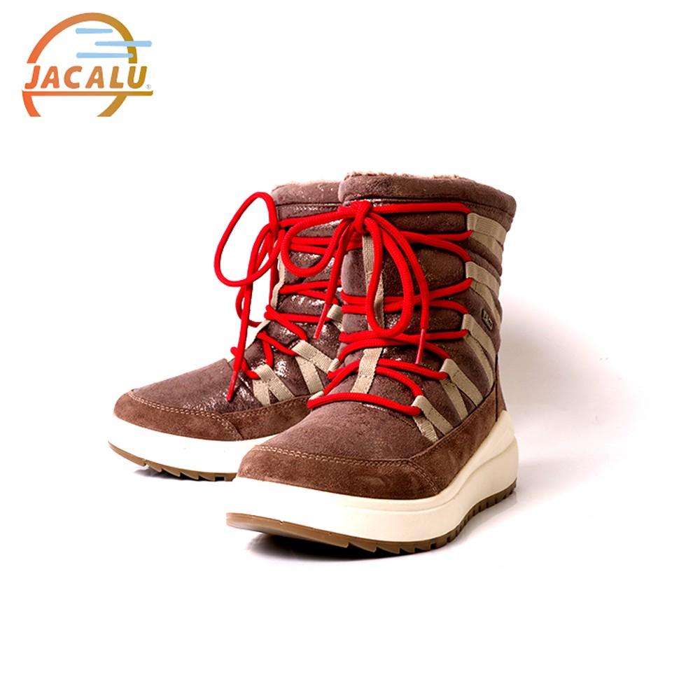 Jacalu 中筒亮面麂皮織帶雪靴 6331.3/J 灰褐