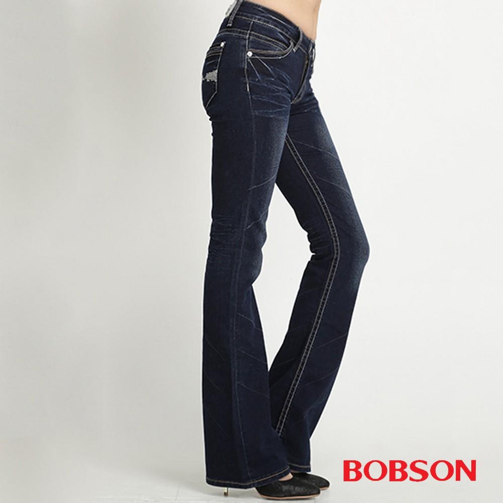 BOBSON 女款銀蔥刺繡小喇叭褲9088-52