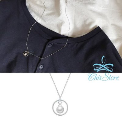 Chis Store【鏤空圓形珍珠項鍊】韓國飾品 高品質 獨特優雅氣質 圈圈 氣質 百搭 垂墜珍珠鎖骨鏈 短項鏈 圓圈