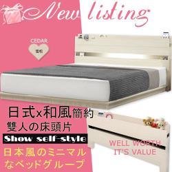 【HOME MALL-日式美學崁燈】雙人床頭片(雪松)