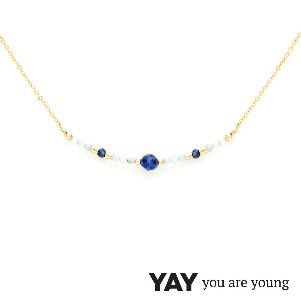 法國品牌 YAY You Are Young 台北ShopSmart直營店 Cleo 藍寶石項鍊 平衡墜設計 金色