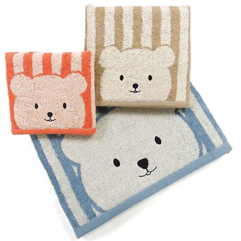 條紋彩色熊浴巾【顏色隨機出貨】