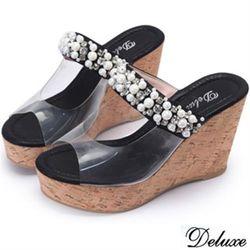 【Deluxe】閃耀黑水鑽珍珠厚底楔型涼鞋(黑)-GS1-1