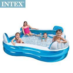 INTEX藍色透明有靠墊戲水游泳池229x229x66cm(990L)適用3歲+(56475N)