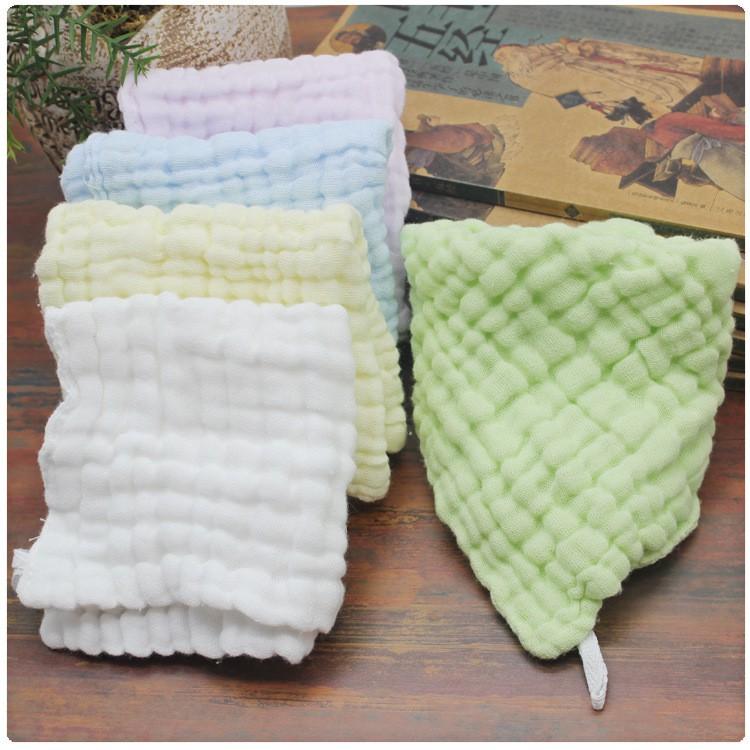 母婴6層紗布純棉褶皺布水洗純色方巾嬰兒紗布帶掛鉤口水巾30*30方巾