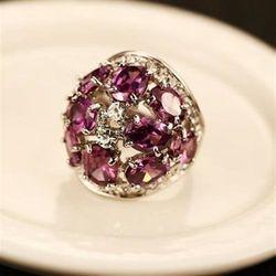 【米蘭精品】925純銀水晶戒指鑲鑽高貴時尚大方73by9