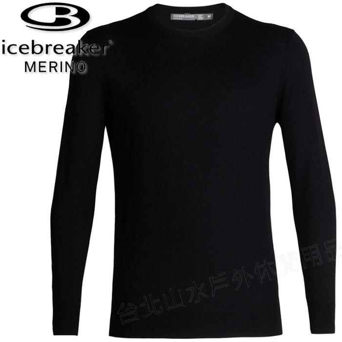Icebreaker 羊毛衣/圓領長袖上衣/中層衣/美麗諾羊毛/旅遊JN Shearer 男款104326 002 黑色