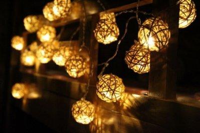 ☆四月科技能源☆光控太陽能燈20LED燈 聖誕燈 節日 燈串 藤球 暖燈A0219-2