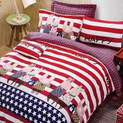【情定巴黎】兔兔聯盟 100%精梳純棉雙人四件式床包被套組-獨立筒適用