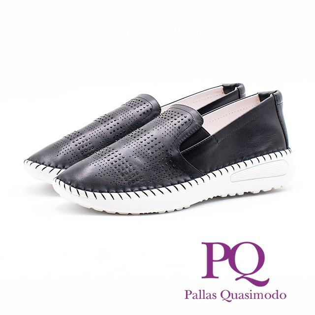 PQ 氣質皮革休閒 女鞋-黑(另有白)