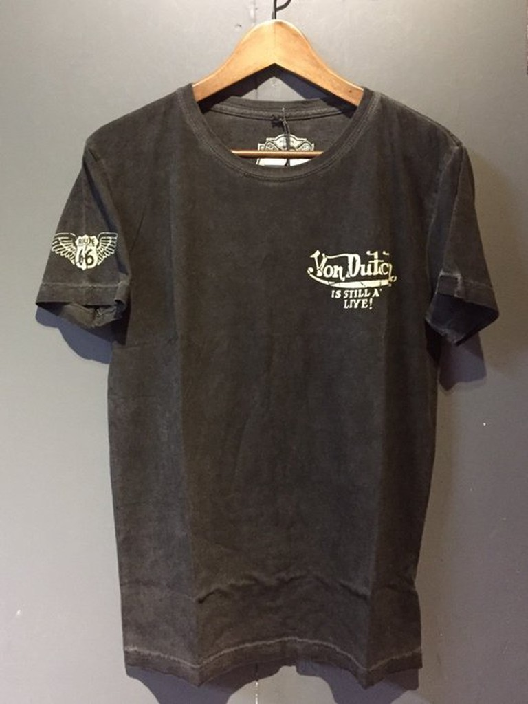 美國潮流品牌 Von Dutch MENS TEE SSK014 - BLACK OIL WASH (黑色)