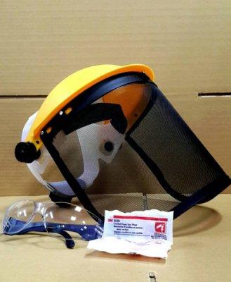 附發票(東北五金)(送眼鏡+3M 耳塞)歐堡牌 透氣黑網面板安全防護面罩組 割草面罩 防碎屑噴濺 SK-305