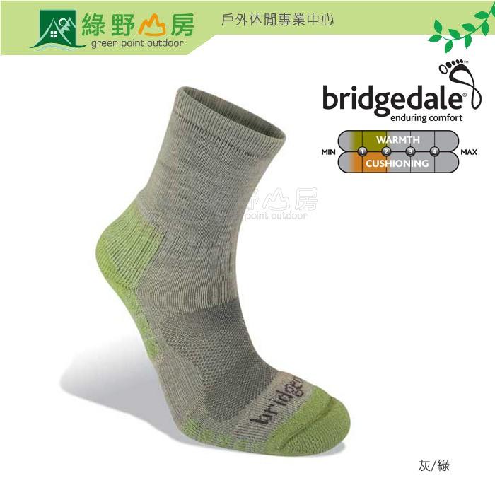 Bridgedale 英國 女 WoolFusion Trail 山徑 輕量中筒羊毛襪 灰/綠 608-940 綠野山房