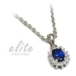 【Elite 伊麗珠寶】925純銀項鍊 八心八箭美鑽系列 - 海洋之心