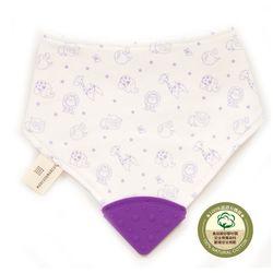 【MARCUS&MARCUS】動物樂園有機棉咬咬兜-鯨魚(紫)