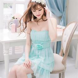 小尺碼-飾花桃心領蛋糕雪紡小禮服洋裝(共二色)lingling