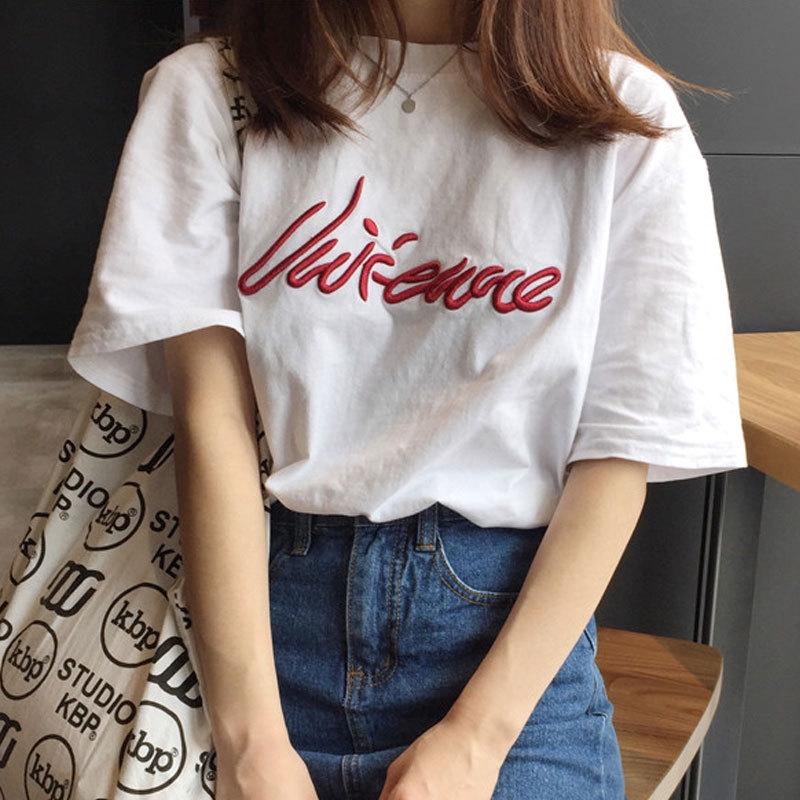 鬼馬系少女韓國刺繡簡約花朵字母chicT恤百搭短袖女上衣