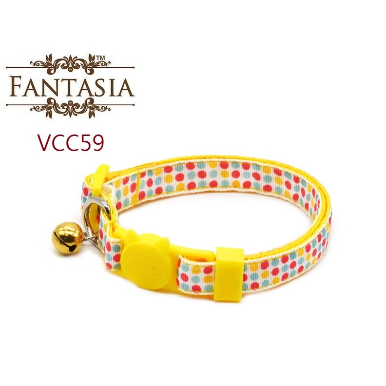 【VCC59】成貓安全項圈(S)繽紛圓點 安全插扣 防勒 貓項圈 鈴鐺 范特西亞 Fantasia