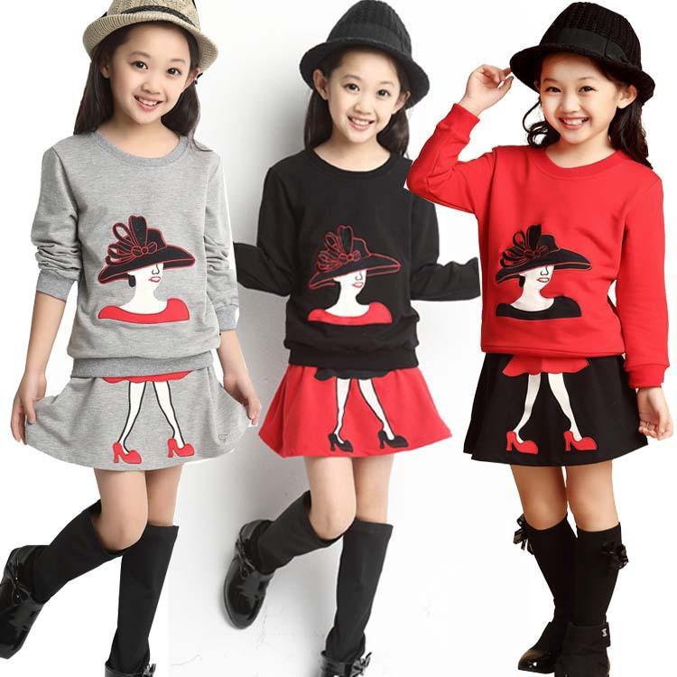 春款 童套裝 韓版中大女童裙套裝 高跟鞋女童兩件套 童裝