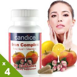 【Candice】康迪斯複方樂補鐵膠囊(90顆*4瓶)添加葉酸、維生素C、維生素B12