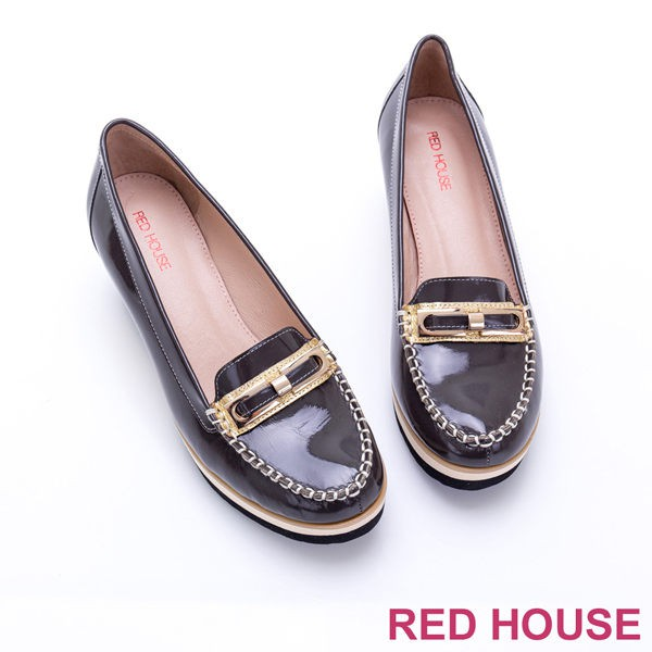【RED HOUSE 蕾赫斯】精緻真皮莫卡辛楔型鞋