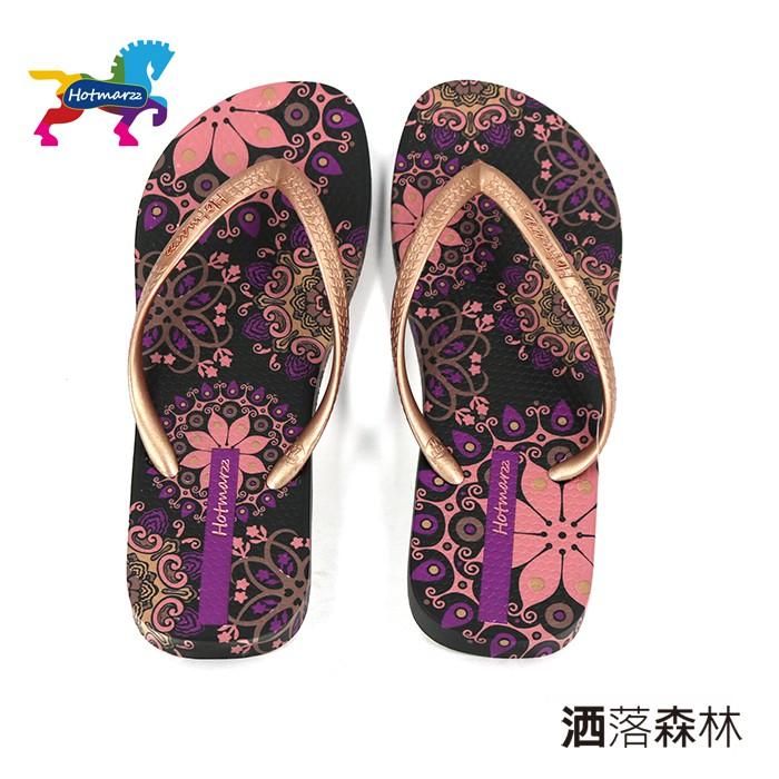 【Hotmarzz】女 / 波西米亞碎花圖騰沙灘夾腳涼鞋 - 266073180 紫色