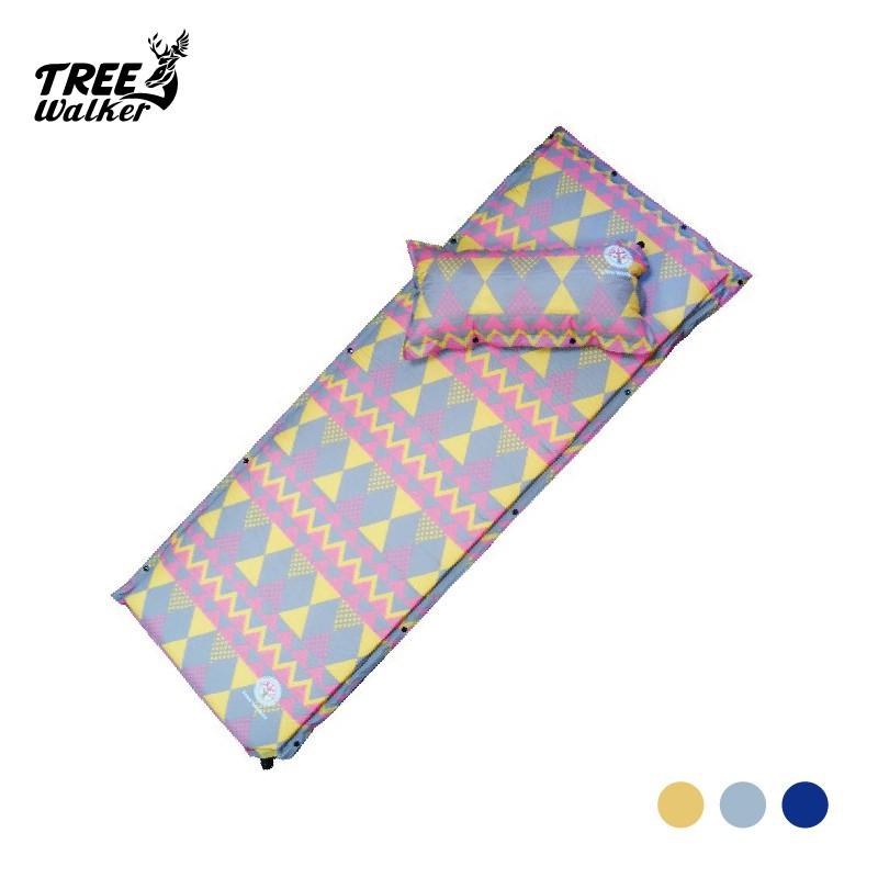 【Treewalker露遊】 6公分自動充氣睡墊(附枕頭) 充氣睡墊 睡墊 可併接加寬 新款繽紛4色 超美