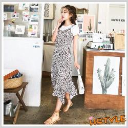 連身裙 兩件式氣質豹紋細肩帶洋裝OM60127-創翊韓都