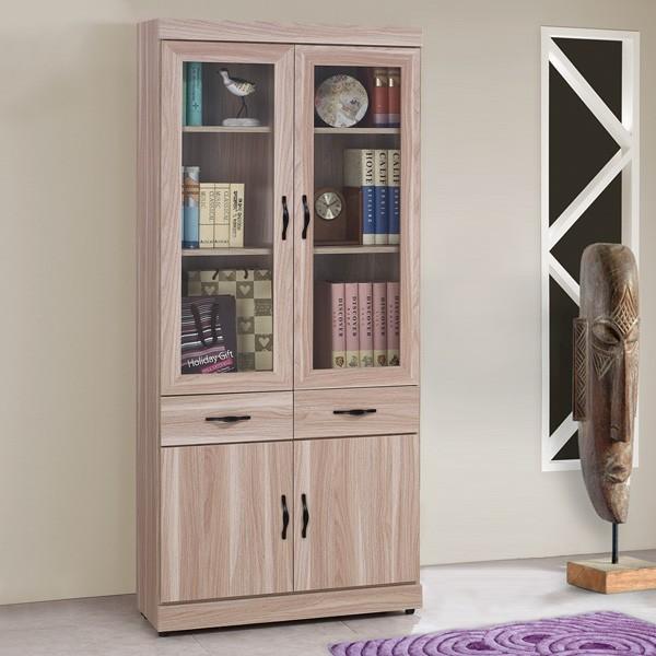 YoStyle 雪琪2.7尺中抽書櫃 高櫃 展示櫃 玻璃櫃 收納櫃 置物櫃 櫥櫃 專人配送