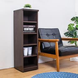 Birdie南亞塑鋼-1尺開放式五格收納置物櫃/隙縫櫃/鞋櫃(胡桃色)