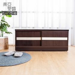 Birdie南亞塑鋼-4尺拉門/推門塑鋼坐式鞋櫃/穿鞋椅(胡桃色+白橡色)