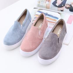 ZUCCA【z6603】絨毛布面厚底平底鞋-藍色/灰色/粉色