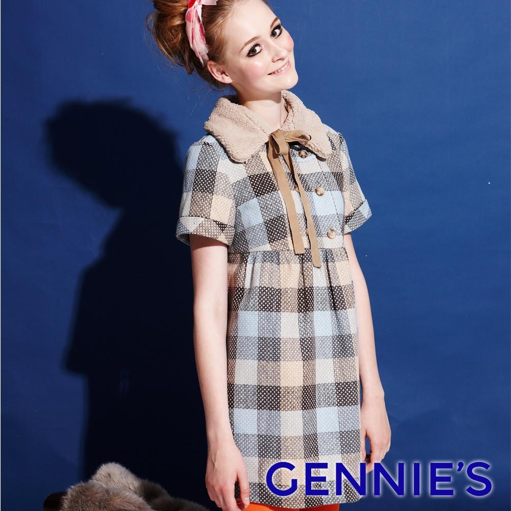 可愛小毛領格紋保暖羊毛秋冬孕婦上衣-紅(G3Y23)-Gennie's奇妮