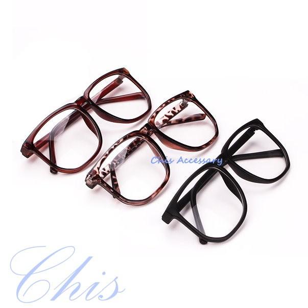 Chis Store【方框百搭黑框】韓國文青風鏡框 大黑框眼鏡 氣質 豹紋 顯瘦造型 流行鏡框 平光眼鏡框 復古超大黑框