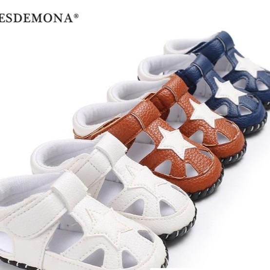 母嬰 夏季童鞋 0-1歲男寶寶膠底包腳涼鞋防滑嬰兒學步鞋 男寶寶嬰兒涼鞋 母婴