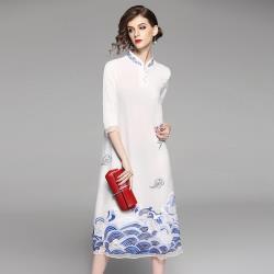 精品中國海浪刺繡寬鬆短袖洋裝- RN-girls