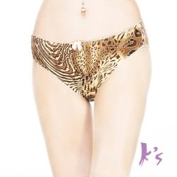 【Ks凱恩絲】野性豹紋蠶絲褲底柔棉三角內褲