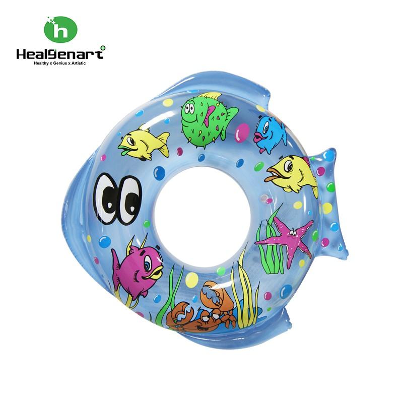 【Healgenart】海魚造型彩繪泳圈 雙魚座兒童43cm黃色/藍色可愛魚型游泳圈浮板。3-5歲孩童~~二色大促銷