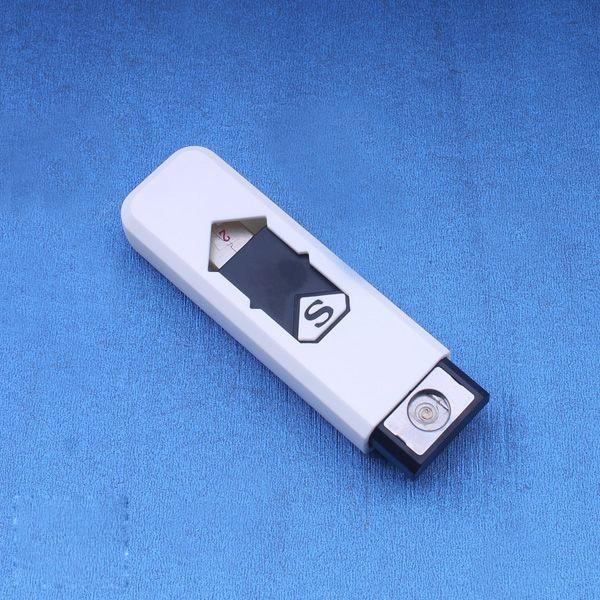 充電USB打火機 USB點煙器 電子打火機 防風防潮 充電打火機 電子點煙器 環保安全 白色(78-2916)