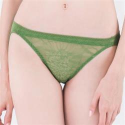 思薇爾 微戀花夏系列M-XL蕾絲低腰三角內褲(泥綠色)