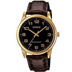 【CASIO】 經典復古時尚簡約指針紳士腕錶-金數字黑面 (MTP-V001GL-1B)
