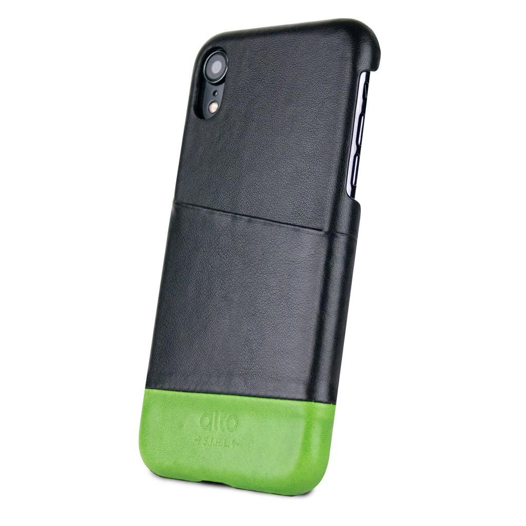 【Alto】Metro 系列 iPhone X / Xs / XR / Xs Max 皮革保護殼 (渡鴉黑/萊姆綠)