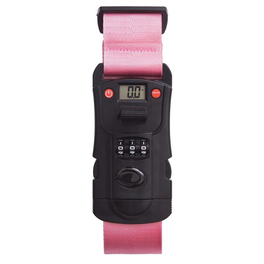 【行李秤束帶】三合一行李箱束帶,含行李秤、密碼鎖以及行李箱束帶三種功能-粉紅