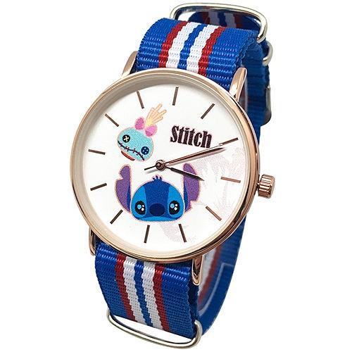 迪士尼DISNEY_史迪奇醜ㄚ頭玫瑰金織帶手錶