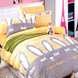 【情定巴黎】寵愛萌妹 100%精梳純棉雙人四件式床包被套組-獨立筒適用