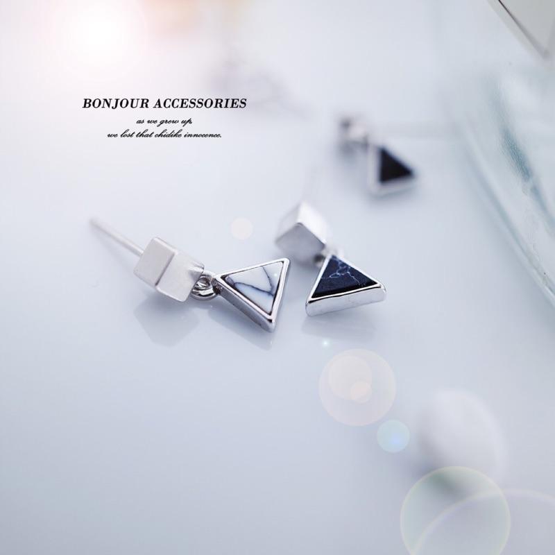 韓國小方塊幾何石 耳環【Bonjouracc】
