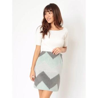 ロングスカート - CECIL McBEE ジグザグ配色台形スカート