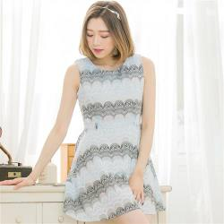 全尺碼-韓版扇型蕾絲紗背心洋裝(共二色)lingling