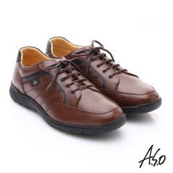 A.S.O 超能耐 牛軟皮綁帶奈米經典休閒皮鞋- 咖啡