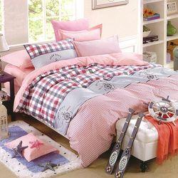 【Indian】印花加大四件式床包兩用被組--粉嫩